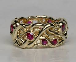 avalon wedding band 18k mists of avalon band with rubies size 7 width 11mm by