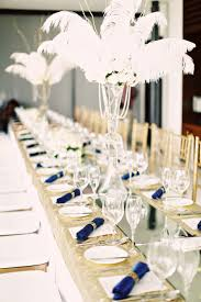 white ostrich feathers for a gatsby art deco themed wedding