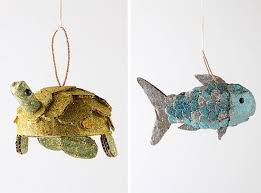 anthropologie ornament look a like turtle and koi fish to