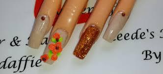 cream u0026 copper 3d nails acrylic nail tutorial youtube
