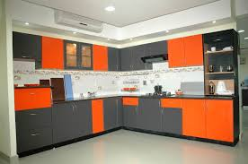 latest modular kitchen designs the coolest modular kitchen in grey and orange for catchy look