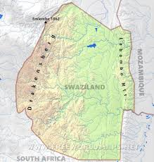 Drakensberg Mountains Map Swaziland Physical Map