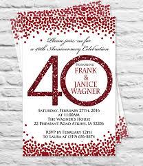 40th anniversary invitations charming 40th wedding anniversary invitation cards 81 for your