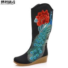 womens boots peacocks boots peacock embroidered canvas mid boots