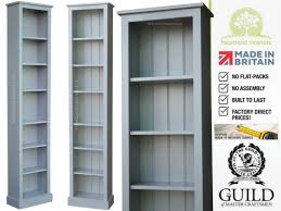 tall narrow white bookcase white cream or grey painted 7ft tall slim jim pine bookcase