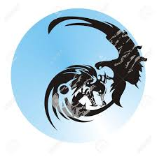 wolf and eagle in a circle abstract eagle and wolf symbol against