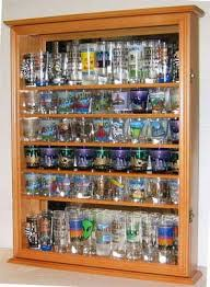 pint glass display cabinet amazon com large shot glass shooter display case cabinet rack
