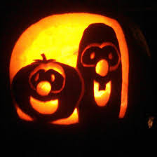 my hubby free carved our pumpkin bob and larry of veggie