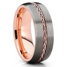 gunmetal wedding band gold tungsten wedding band braid ring gunmetal gray