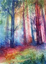 colorful watercolor landscape by anna armona art illustration