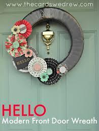 hello modern front door wreath the cards we drew