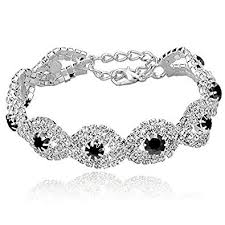 rhinestone bracelet images Long way women 39 s silver plated rhinestone bracelets jpg