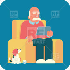 Clipart Armchair Old Man Grandpa Sitting In Armchair And Using A Tablet Pc Vector