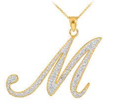necklace initial pendants images 14k gold letter script quot m quot diamond initial pendant necklace jpg