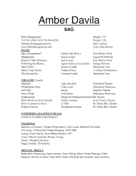 theatre resume special skills for acting resume cover letter template