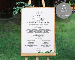 wedding program board wedding program sign template printable wedding program