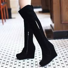 womens knee high boots sale uk uk6 5 the knee toe plain platform side zipper wedge