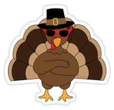 turkey stickers thanksgiving cool turkey with sunglasses happy thanksgiving stickers by pldesign