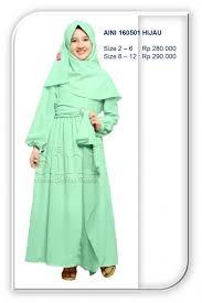 Baju Muslim Dewasa Ukuran Kecil gamis anak aini terbaru 160501 hijau jual baju muslim anak gamis