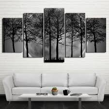 home decor hd prints wall trees pictures 5 pieces black white