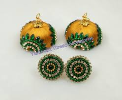 thread earrings yaalz silk thread jhumka with yellow thread and green stones