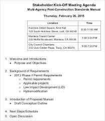 kickoff meeting agenda template 9 free sample example format