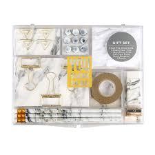 articles bureau marbre blanc kit de papeterie pour bureau fournitures shopkins