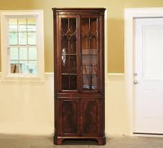 Corner China Cabinet Hutch Corner China Cabinet With Glass Shelves And Lighting Kit Wood Or