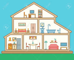 rooms in the house house in cut detailed modern house interior rooms with furniture