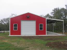 garage small red and white themed metal barn homes with single