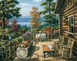 cabin porch sung kim log cabin porch painting anysize 50 off log cabin