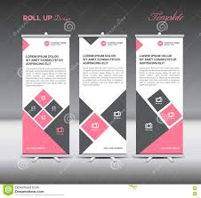 layout banner template pink roll up banner template display advertisement layout vector