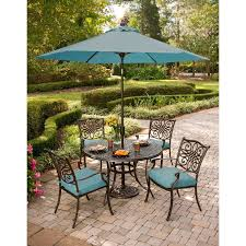 Patio Dining Set With Umbrella Cambridge Seasons 5 Dining Set With Table Umbrella And Stand