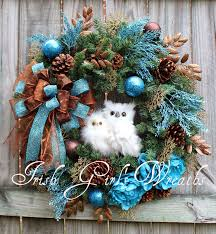 brown christmas tree large rustic woodland turquoise copper brown owl winter wreath large