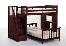 bedroom dark brown polished teak wood bunk bed with desk and