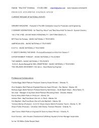Radio Personality Resume Production Songwriting Engineering Resume