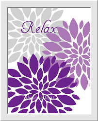 purple bathroom wall art lavender gray purple flower bursts