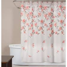 Orange Shower Curtains Saturday Coral Garden Floral 72 In Polyester Shower