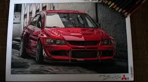 mitsubishi evo drawing evo viii drawing using tombow pencils u0026 f c albrecht dürer u0026 art