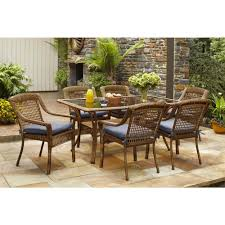 Patio Dining Set by Hampton Bay Spring Haven Brown 7 Piece All Weather Wicker Patio