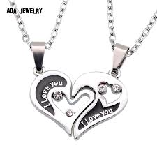aliexpress love necklace images Love u heart wholesale 2014 new couple lovers 39 pendant necklaces jpg