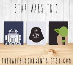 Nerd Home Decor Star Wars Wall Art Minimalist Set Of 3 Yoda R2d2 Darth