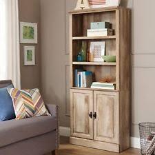 3 Shelf Bookcase With Doors Light Wood Tone Bookcases Ebay