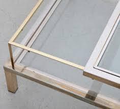 maison jansen sliding top coffee table in brass and chrome lomomomo