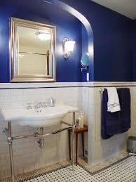 navy blue bathroom decor small rectangle mirror low table wall
