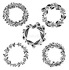 five frame design elements set floral frame and vignette stock vector