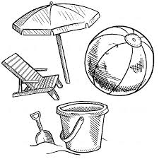 summer vacation coloring pages beach bucket and other summer vacation equipment colouring page