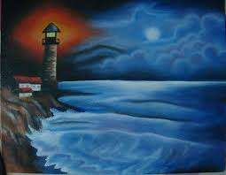light house at night lighthouse at night painting by dhara khatri