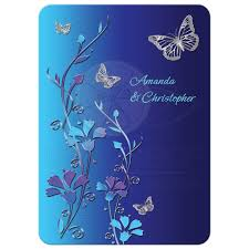 blue wedding invitations wedding invitation royal blue turquoise mauve flowers silver