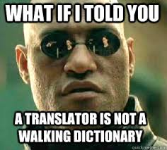 Dictionary Meme - what if i told you a translator is not a walking dictionary